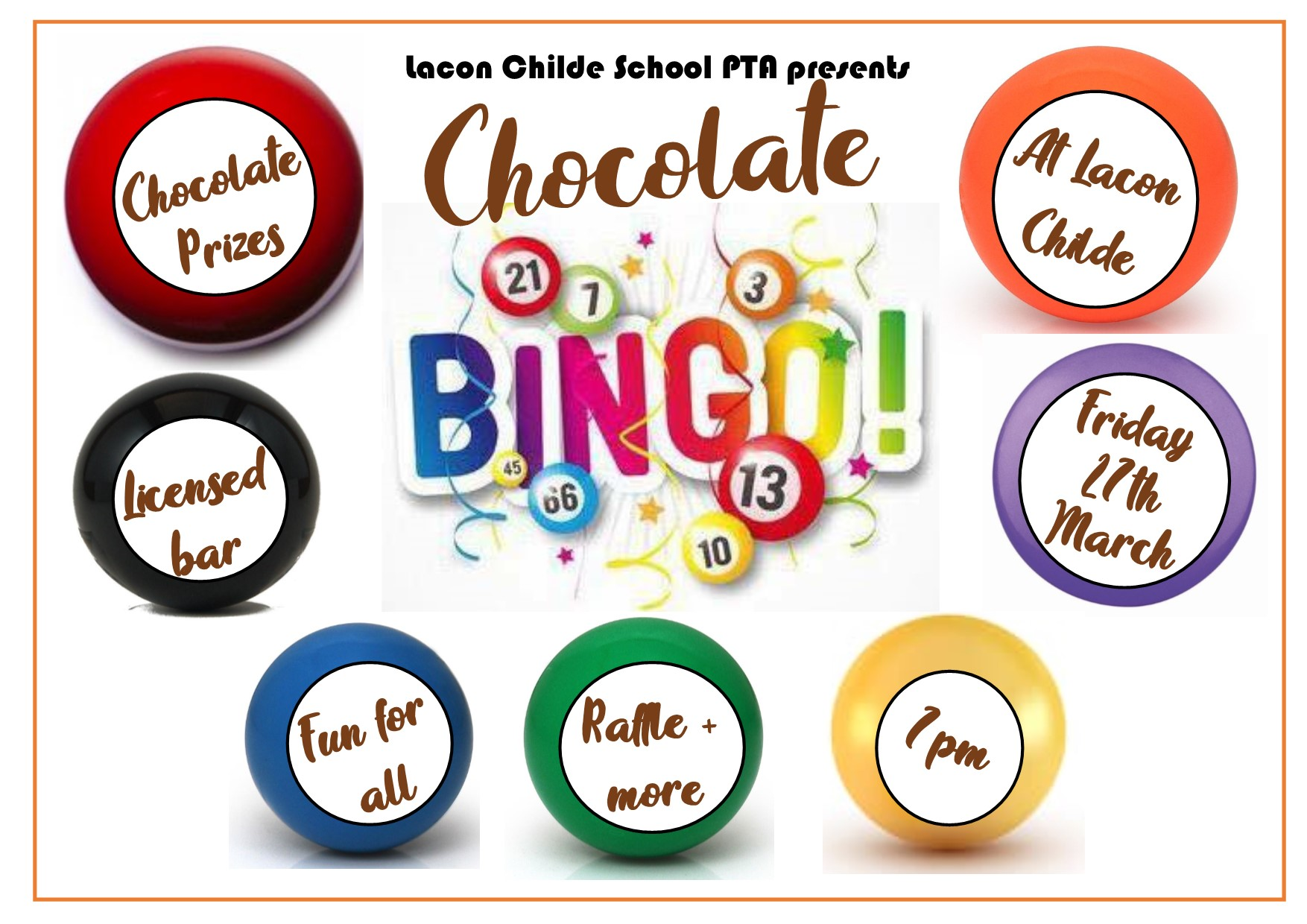 Unfortunately our Chocolate Bingo event had to be posponed due to Covid-19. We were able to sell the donated chocolate, enabling us to be able to hold this event at a later date. Thank you everyone for all of your generous donations.